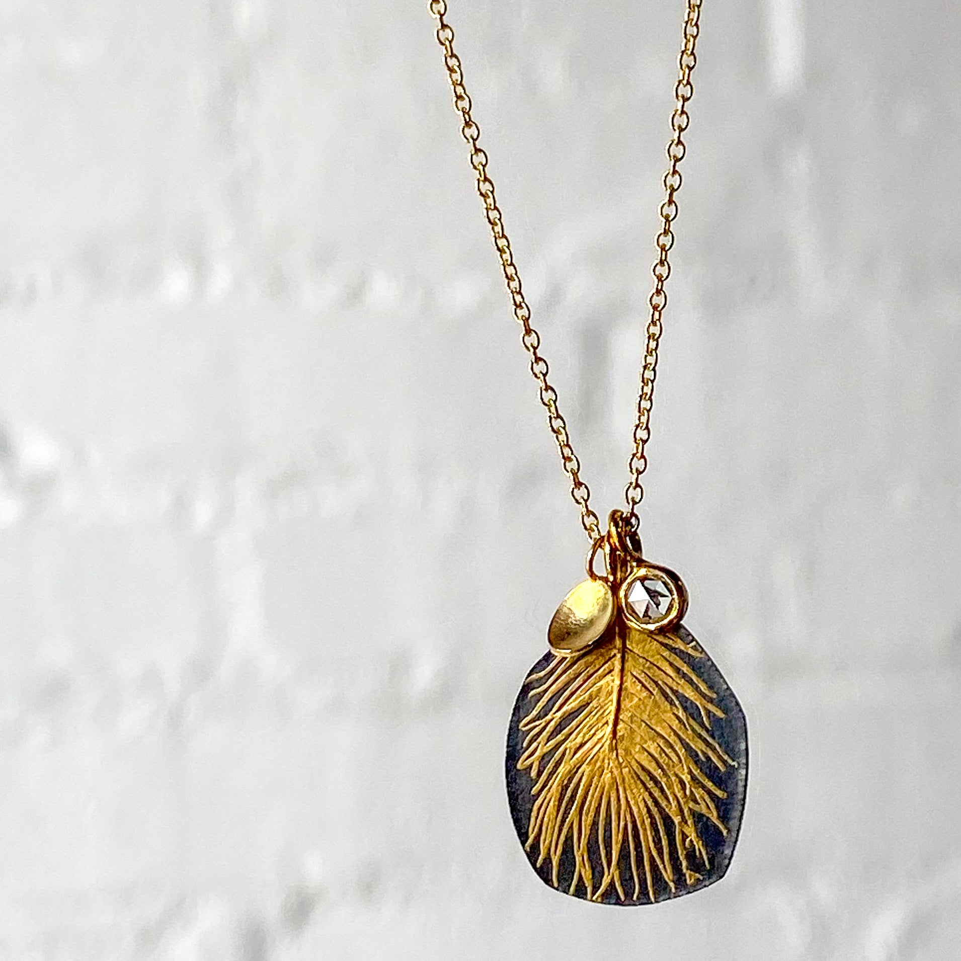 Diamond Feather Drop Necklace / Made-to-Order