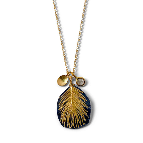 Diamond Feather Drop Necklace