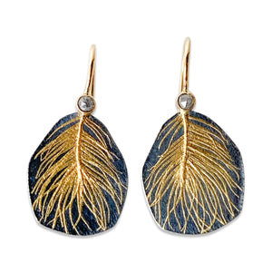 Diamond Feather Drop Earrings / Made-to-Order