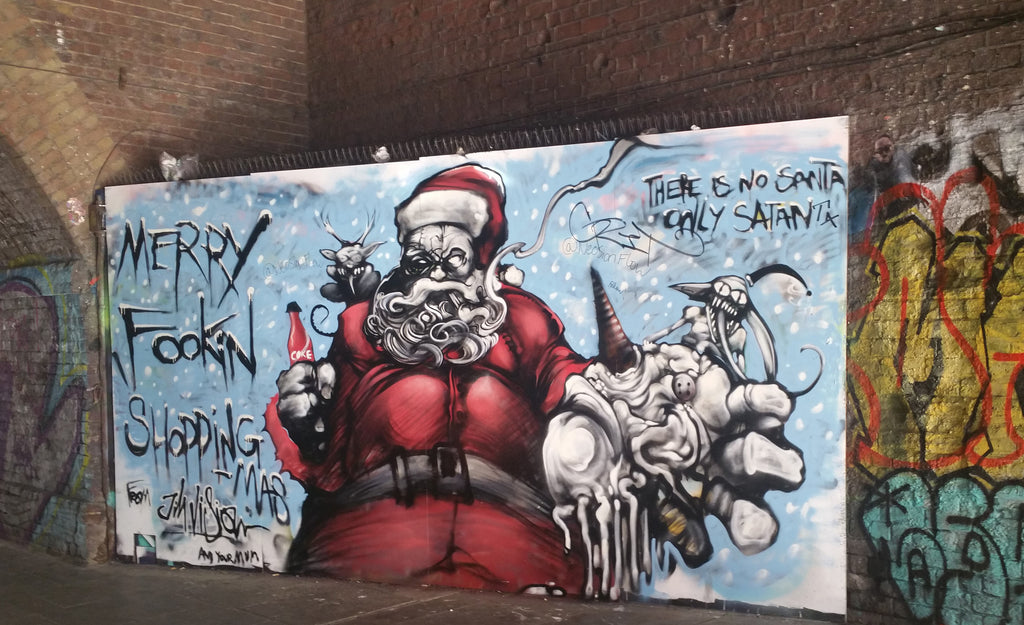 Shoreditch Graffiti Santa Satan