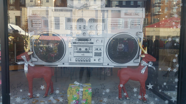 Boombox in window