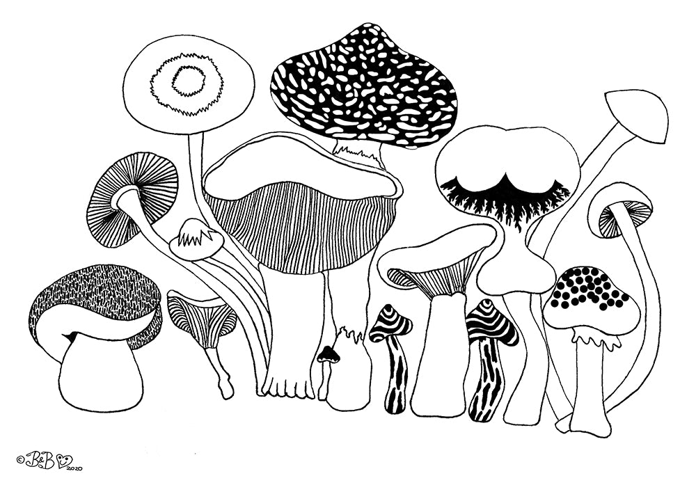 Shrooms art download for colouring