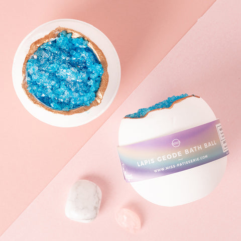 Lapis Geode Vegan Bath Ball Gift For Her