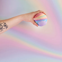 Load image into Gallery viewer, pride vegan rainbow bath bomb