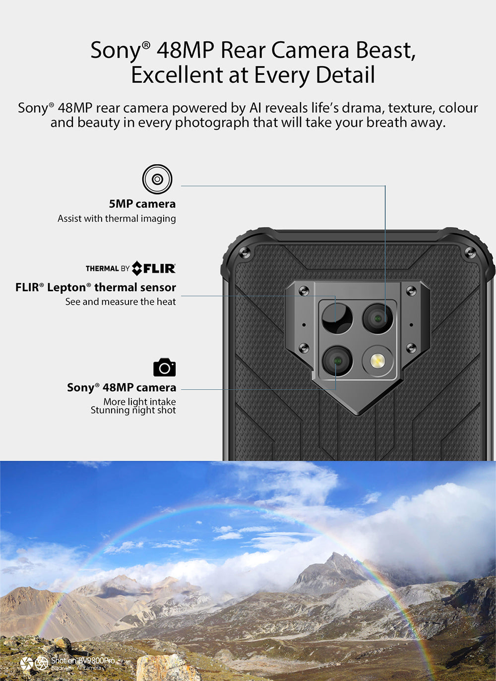 Blackview BV9800 Pro Thermal Camera Rugged Android 9 Smartphone - 6GB, 128GB, IP68