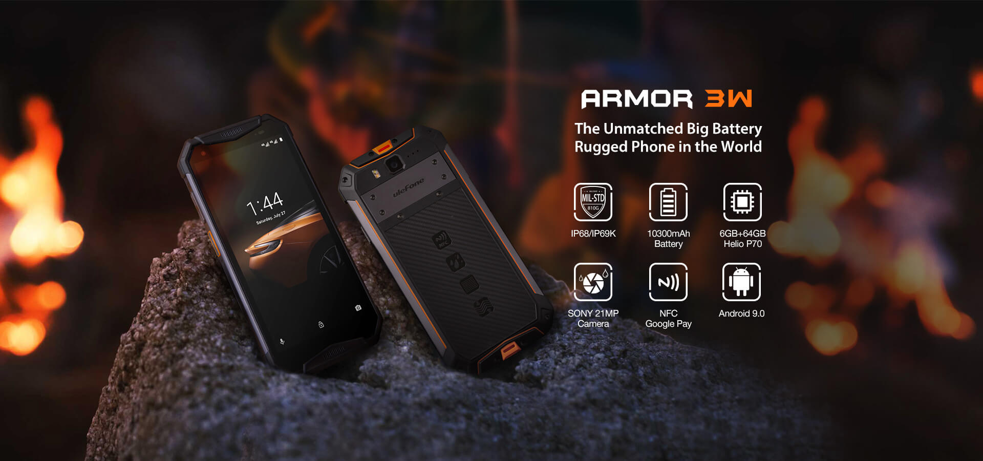 Rugged SA UleFone Armor 3W Rugged Android 9.0 Smartphone - 6GB RAM, 64GB, Dual-SIM, IP68