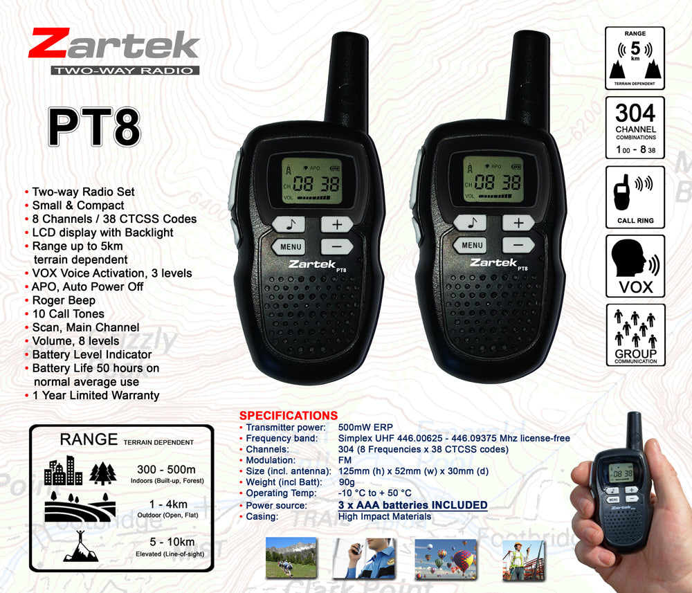 Rugged SA Zartek PT8 Two-Way Radio Set