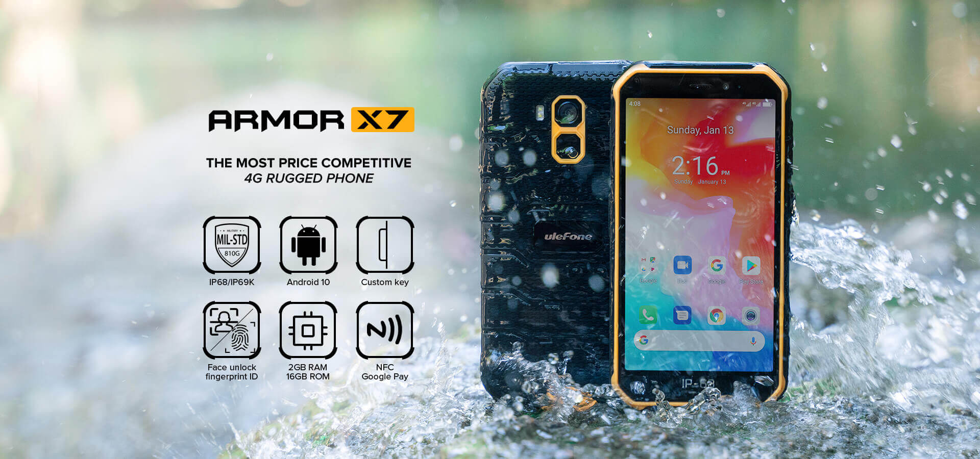 Rugged SA UleFone Armor X7 Rugged Android 10.0 Smartphone