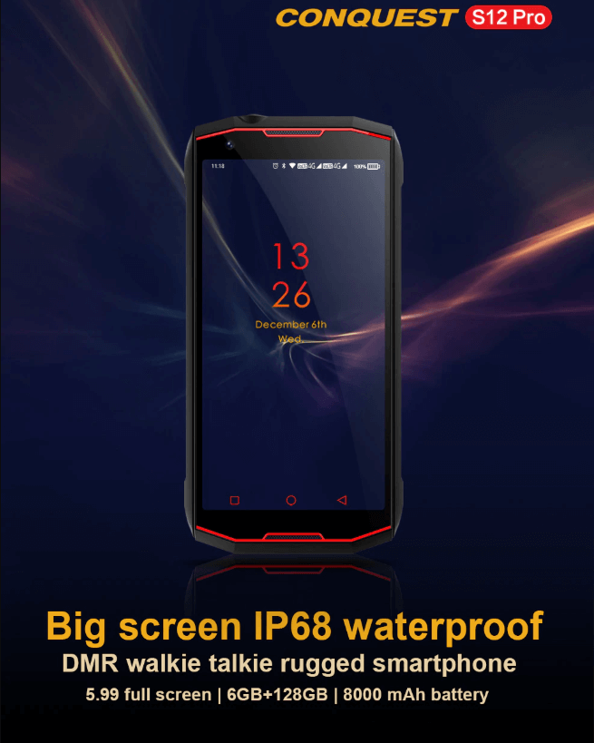 Rugged SA Conquest S12 Pro IP68 Android Rugged Smartphone - 64GB RAM, 128GB ROM