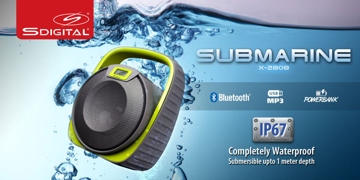 SDIGITAL SUBMARINE Water Resistant Bluetooth Speaker