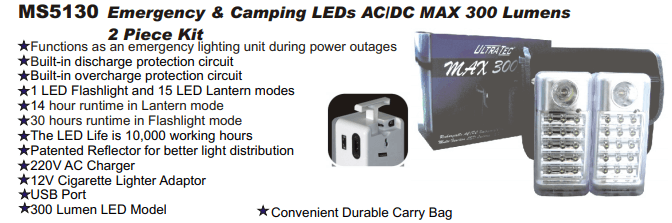 Rugged SA UltraTec Max 300 Emergency Camping LED Light 2 Piece Kit