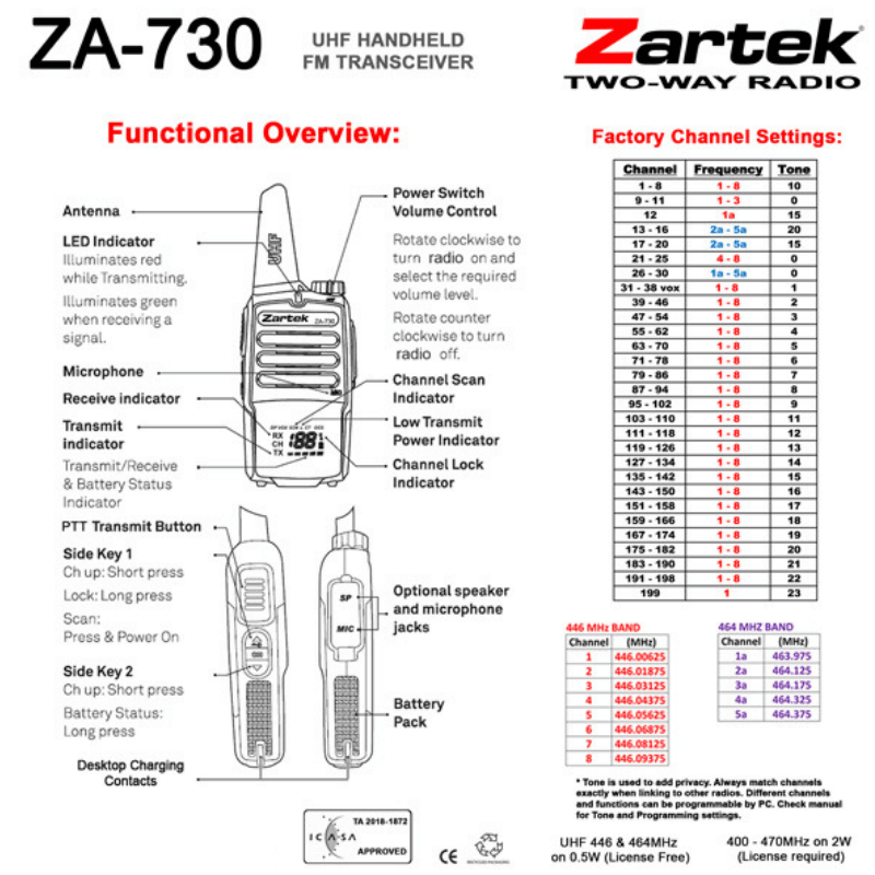 Zartek - ZA-730 Two-Way Radio With Digital Display