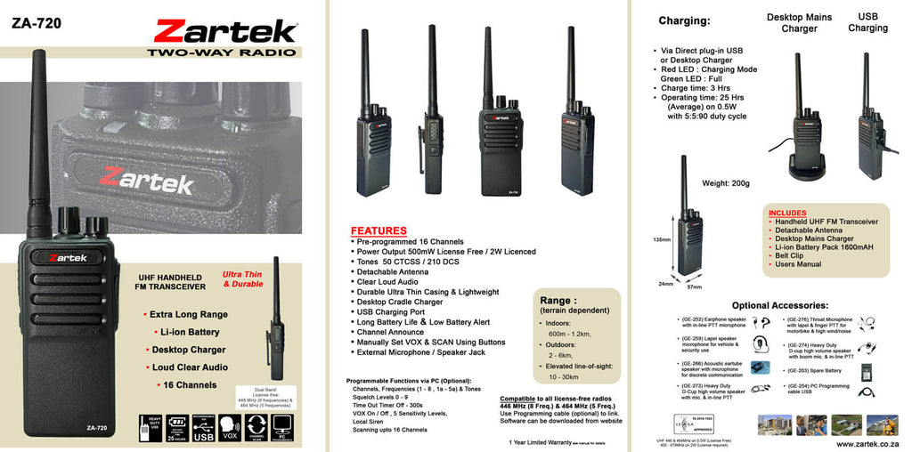 Rugged SA Zartek - ZA-720 Two-Way Radio