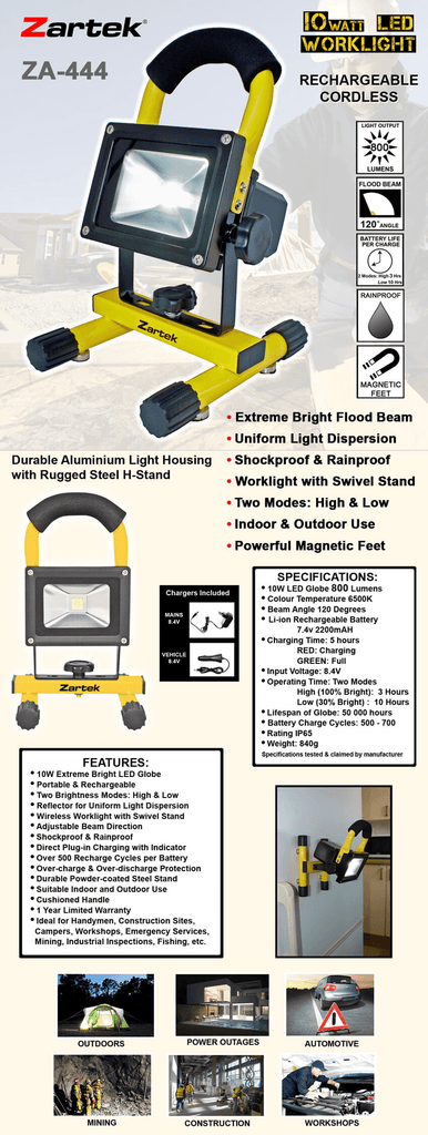 Rugged SA Zartek ZA-444 LED Worklight 10W