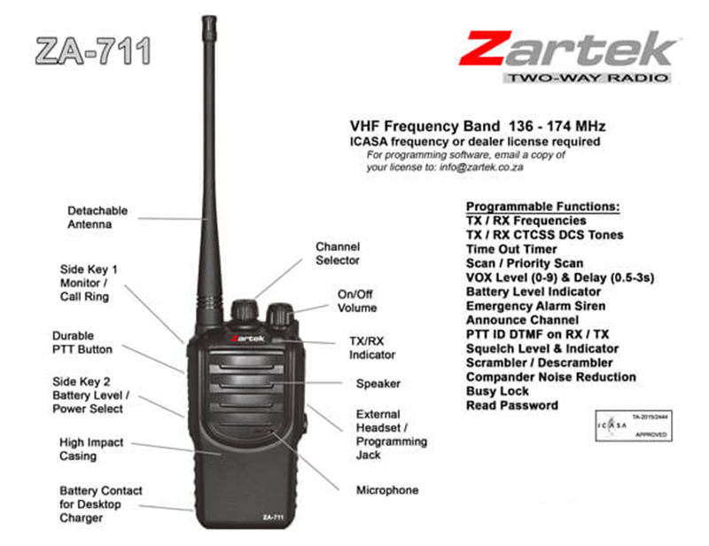 Rugged SA Zartek ZA-711 High Power Two-Way Radio