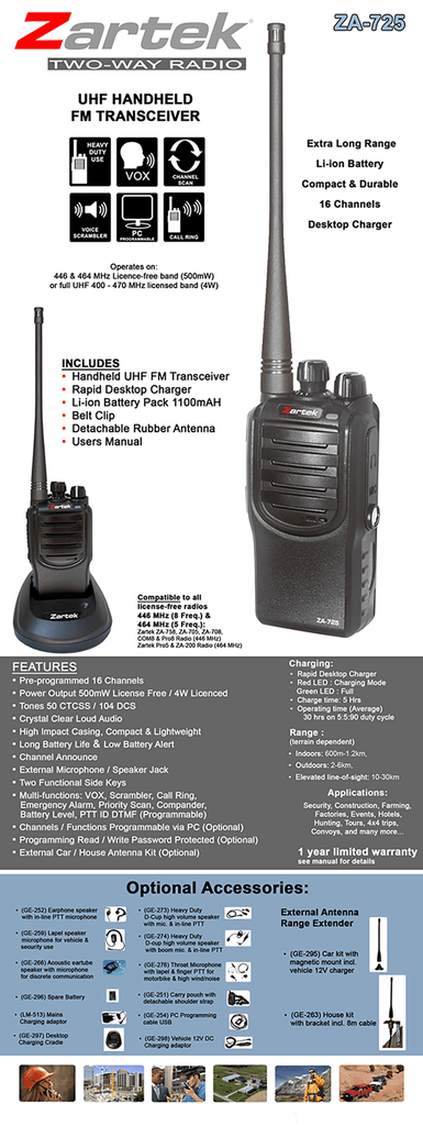 Rugged SA Zartek ZA-711 Two-Way Radio