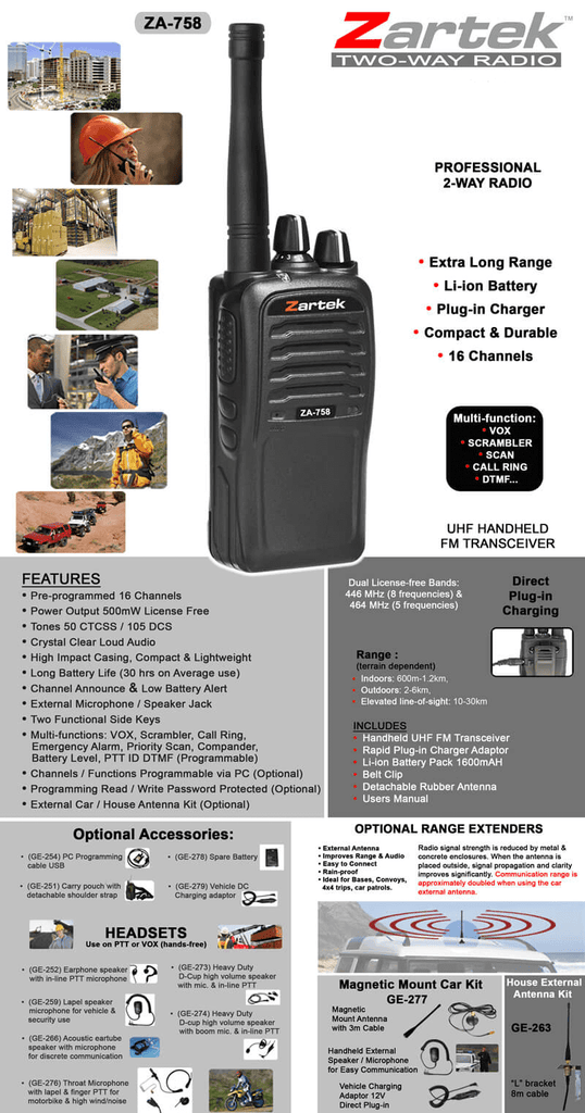 Rugged SA Zartek ZA-758 Multi-Function Two-Way Radio