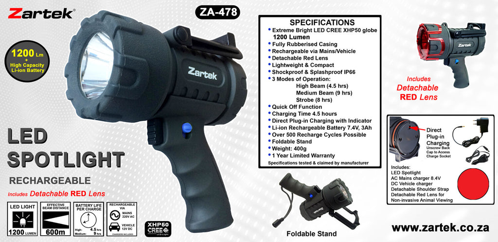 Rugged SA Zartek ZA-478 LED Spotlight
