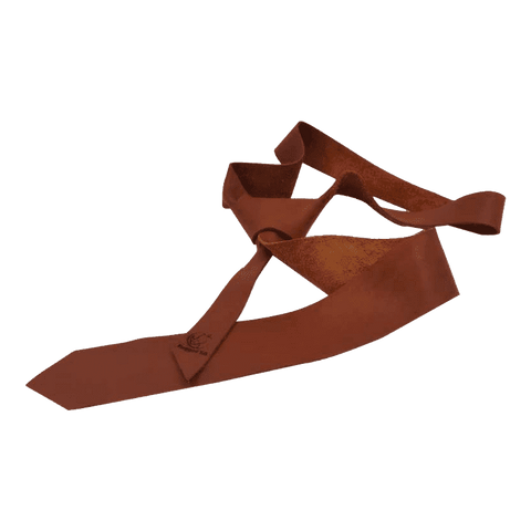 Chester Tabacco Skinny Leather Tie - Mens