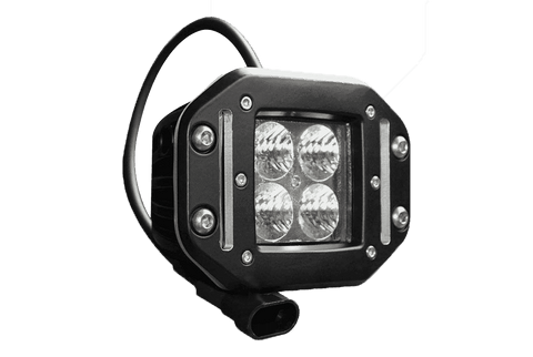 "40W, 2550 Lm - Rugged SA W series Double Row Cube 2"" Flood Beam IP69K Led off-road Light, Flush mount with Harness"