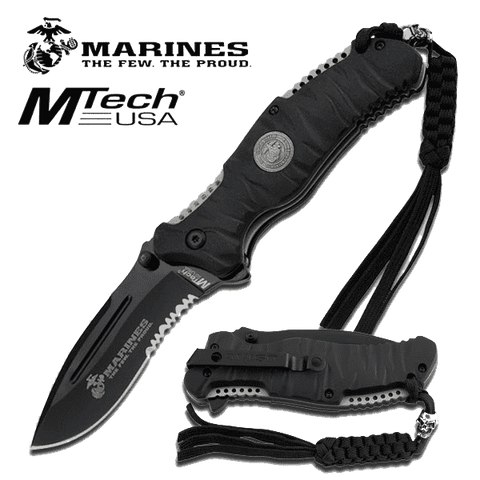 Rugged Knives - U.S. MARINES BY MTech SPRING ASSISTED KNIFE | M-A1020BK