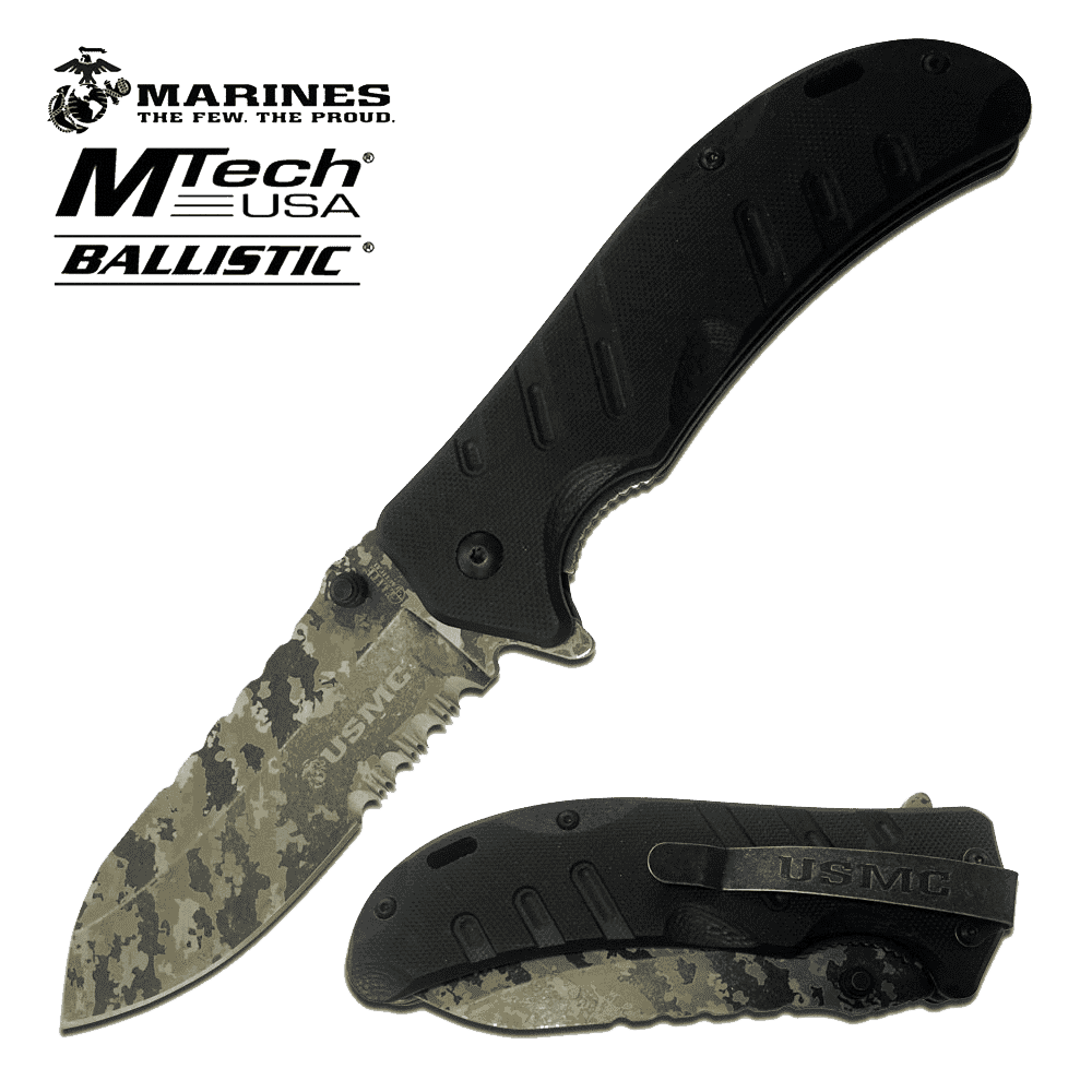 Rugged Knives - U.S. MARINES By MTech SPRING ASSISTED KNIFE | M-A1042BDG