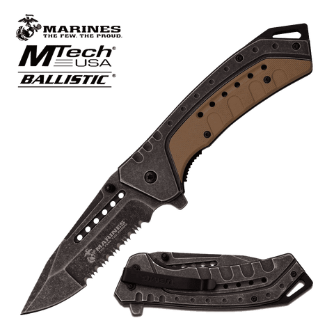 Rugged Knives - U.S. MARINES BY MTech SPRING ASSISTED KNIFE | M-A1044BT