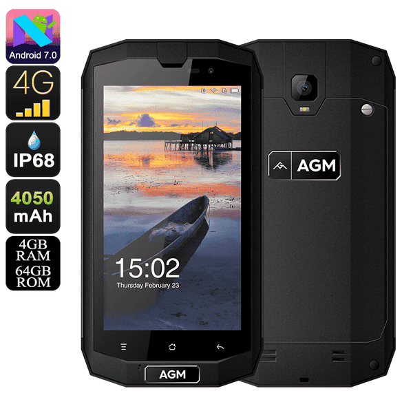 AGM A1Q Rugged Android Smartphone - 4GB, 64GB, IP68, Dual-Sim