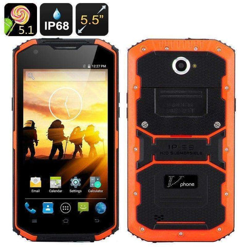 Rugged Phones - V Phone X3 Rugged Smartphone - 5.5 Inch HD Screen, Android 5.1, IP68,Dual SIM, SOS Button