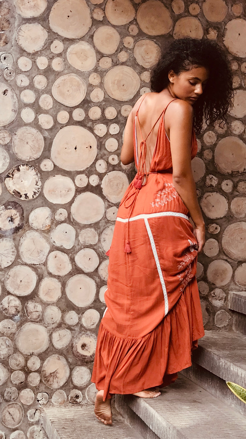 Heartland Backless Lace Maxi - Burnt Umber