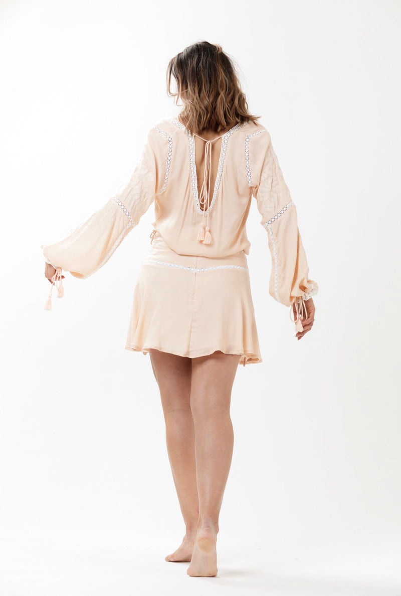 Folkstone Backless Lace Blouse - Dusty Pink