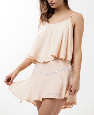 Desert Rose Flutter Mini Skirt - Dusty Pink