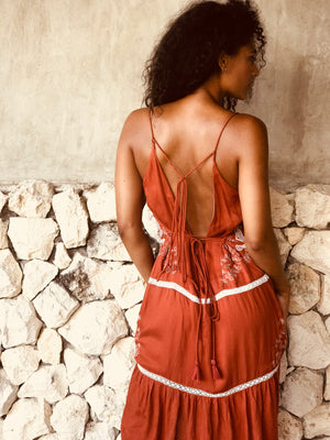 Heartland Backless Lace Midi - Burnt Umber