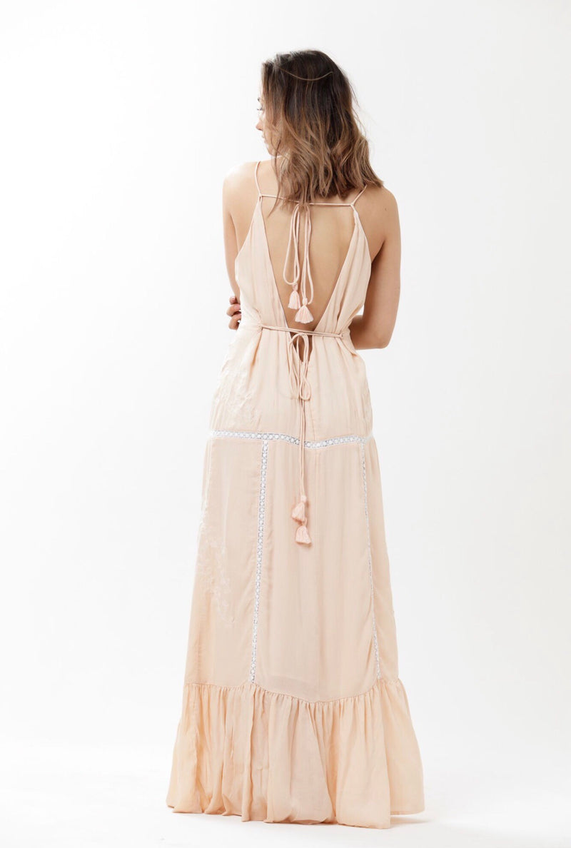Heartland Backless Lace Maxi - Dusty Pink