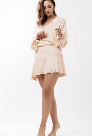 Desert Rose Flutter Mini Skirt - Burnt Umber