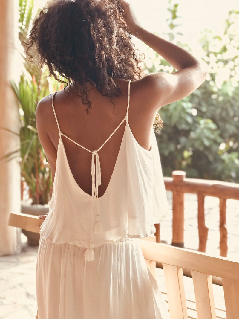 Folkstone Backless Cami - Lily White