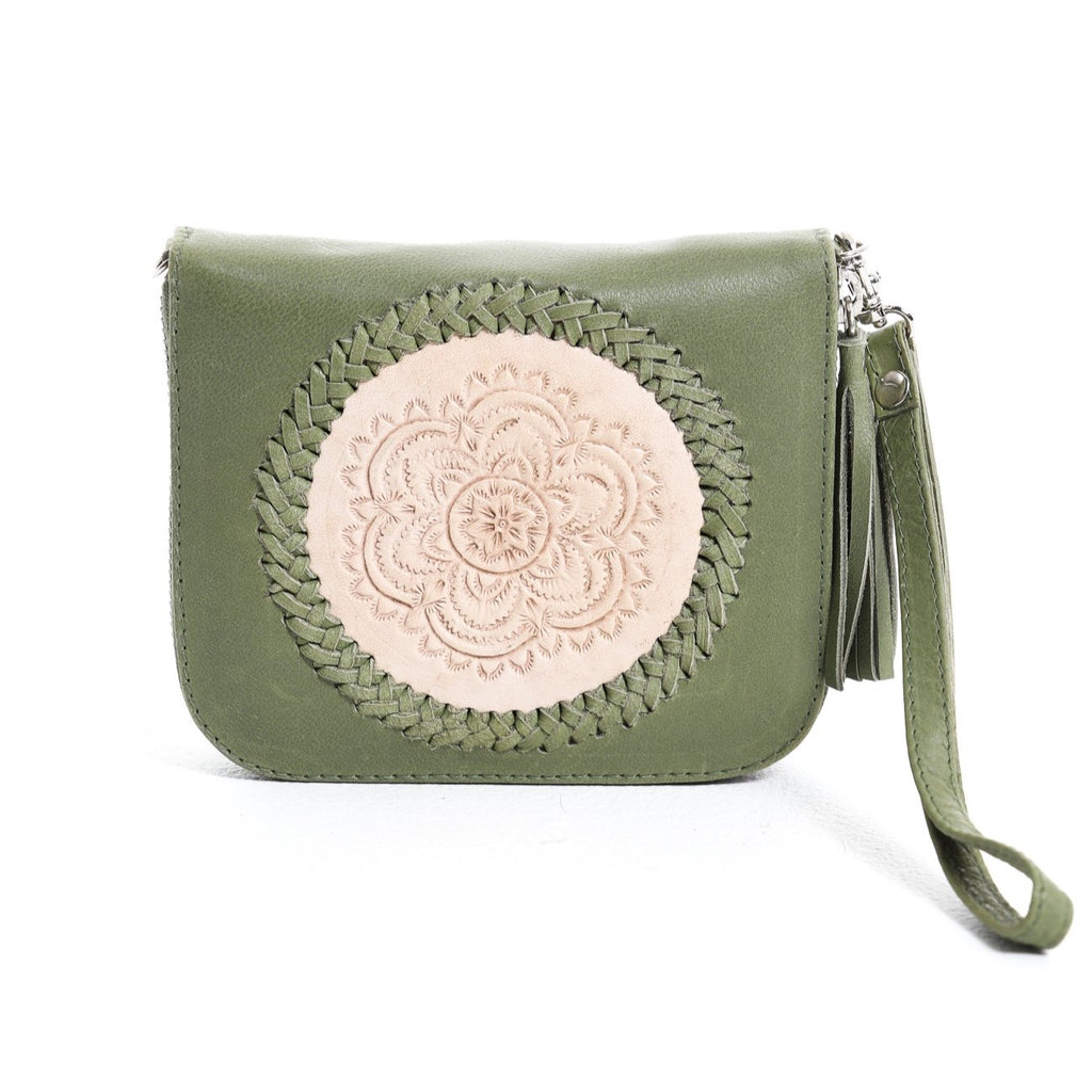 Mini Indi Wallet - Olive & Blush
