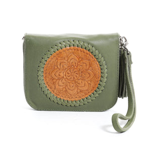 Mini Indi Wallet - Olive & Tan