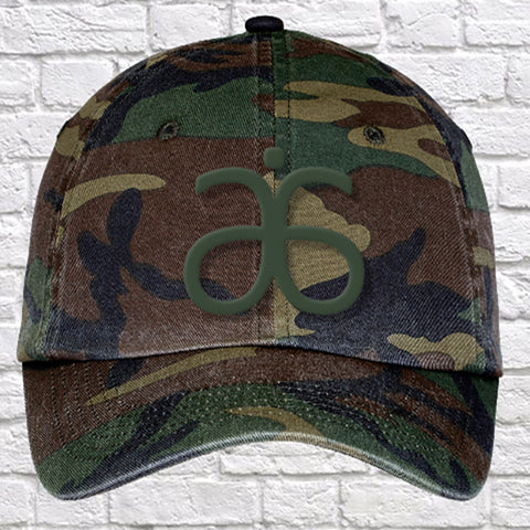 Arbonne Camo Cap with Dark Green Embroidered Logo