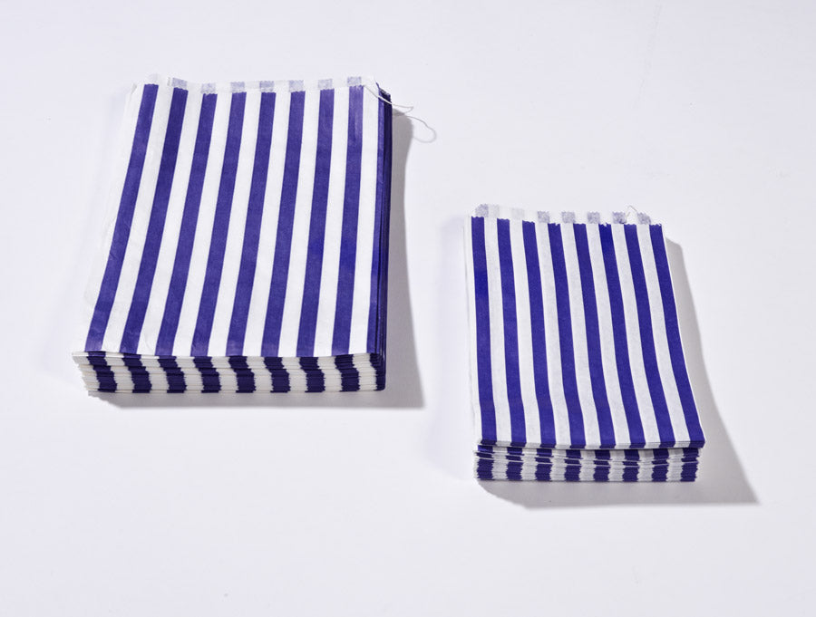 blue candy stripe printed paper bags