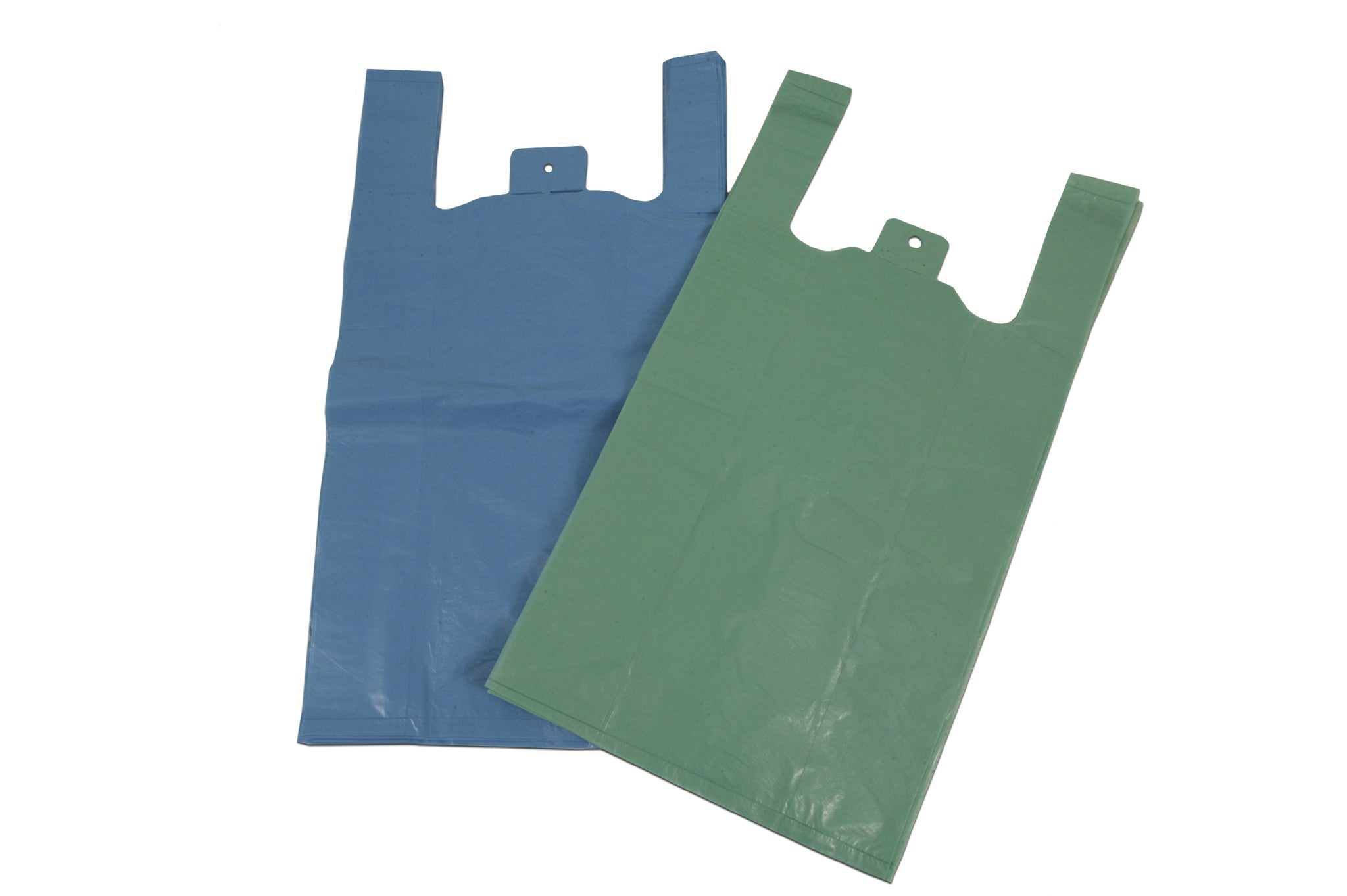 CARRIER BAGS - RECYCLED LDPE BLUE VEST - northeastpaper.co.uk