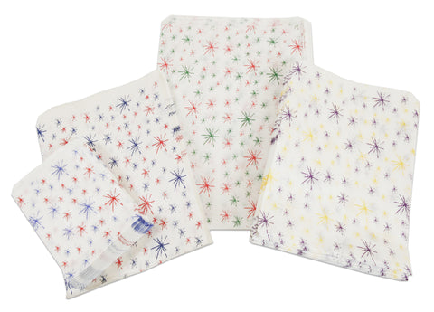 star burst printed white paper bags