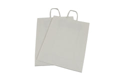 White paper carrier bags twisted handles.
