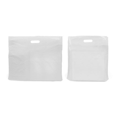 CARRIER BAG - WHITE and CLEAR LDPE 160/320 VARI-GAUGE FASHION BAGS - northeastpaper.co.uk