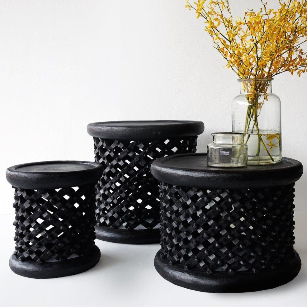 Bamileke Stools/ Coffee Table Black - Nomad Tribe - Originals Furniture - Singapore - 2