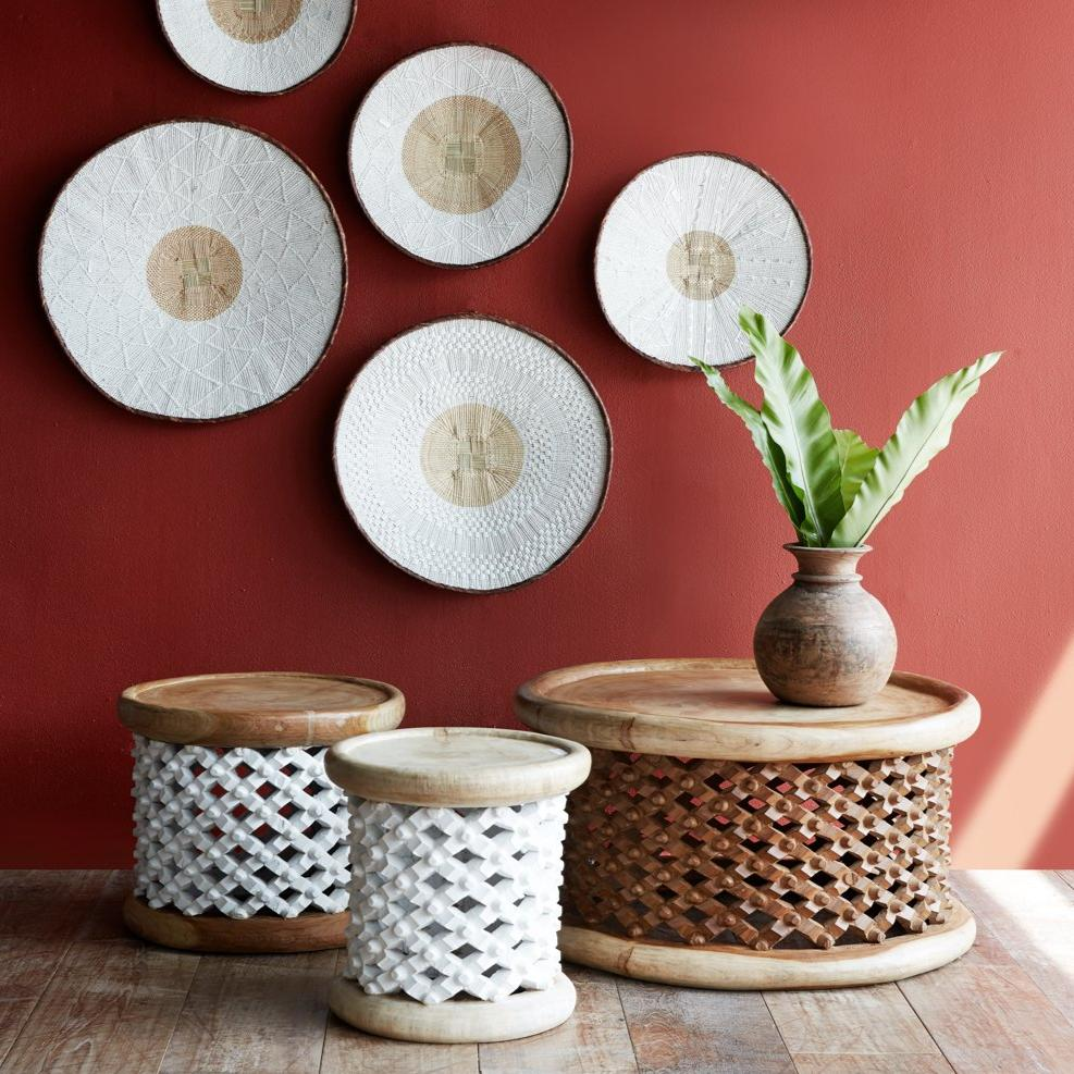 Bamileke Stool | White-Natural