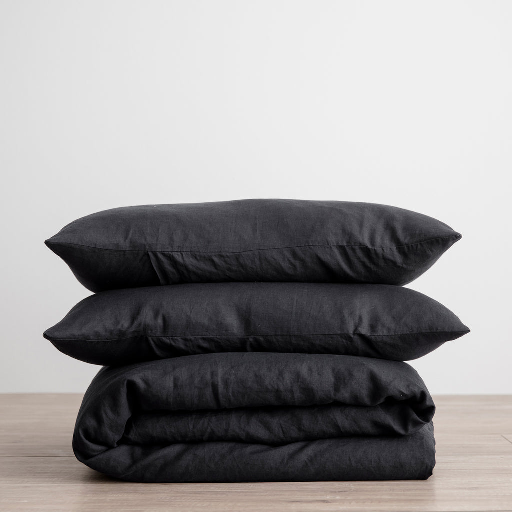 Linen Duvet Set | Black