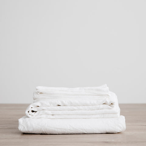 Linen Fitted Sheet Set | White