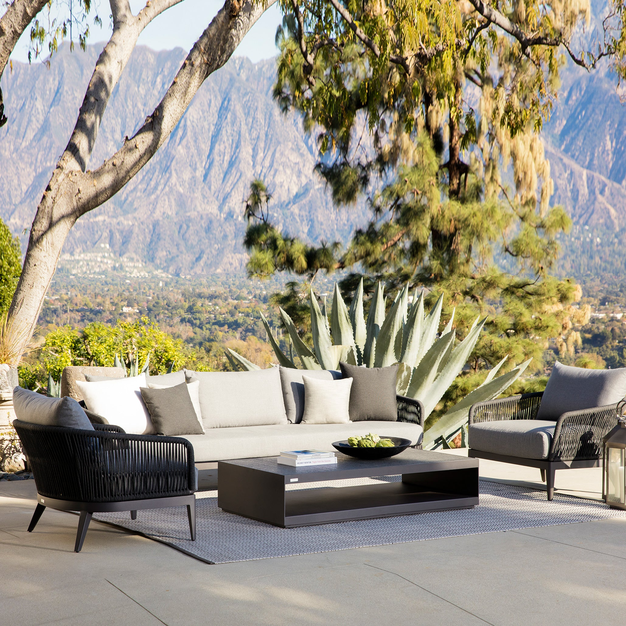 HAMILTON BLACK Lounge Armchair Outdoor | Silver Cushions