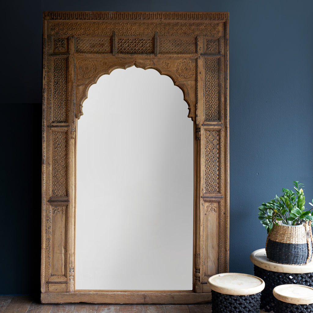 I-147 | Extra Large Natural Carved Mirror